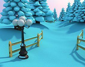 3D model Snowy Outdoor Scene