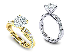 gorgeous rope style twisted engagement ring 3dmodel