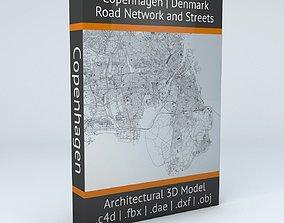 3D model Copenhagen Road Network and Streets