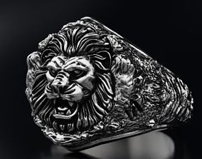 Male ring lion in the rocks 3D printable model