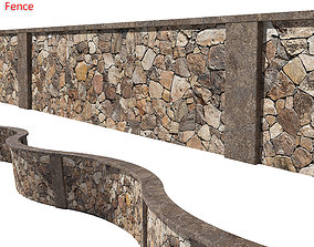 Ultra realistic Stone fence 3D model
