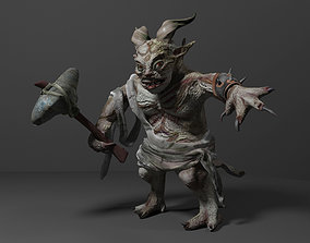 Fantasy troll with weapon 3D asset VR / AR ready