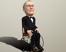 animated Franklin Delano Roosevelt stylized rigged 1