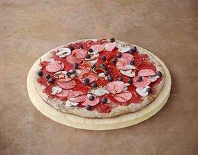 3D Mushroom Pizza On Plate