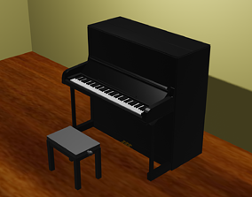 Upright Piano 3D asset