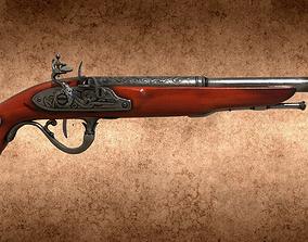 3D asset English 18th century flintlock pistol