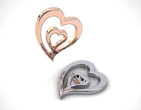 pendant Double Heart Charm 3D print model