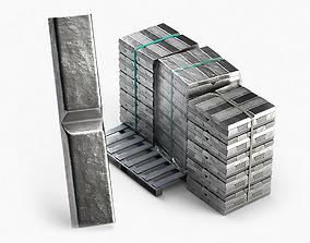 3D model Aluminium Zinc Nickel Silver Titan Steel ingot 5