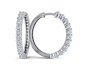 Hoop Diamond Earrings 3dmodel 21mm size