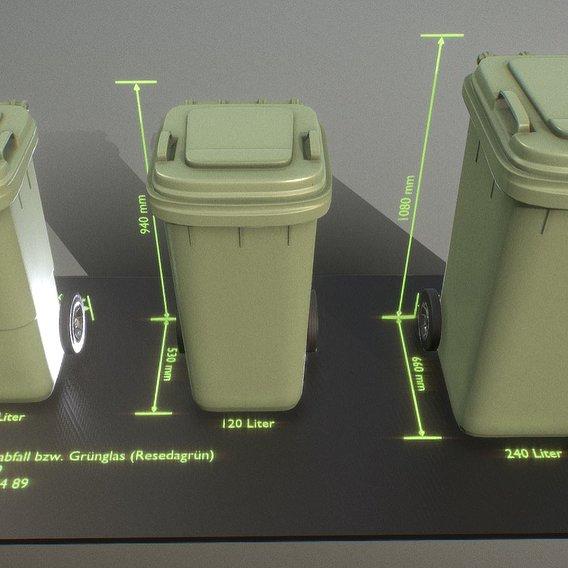 Abfallbehälter Bioabfall grün (Blender-2.92)