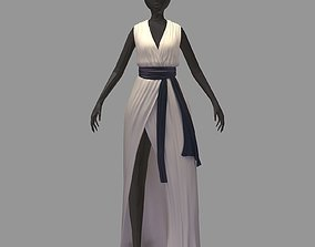women summer long white dress high heel shoes 3D asset