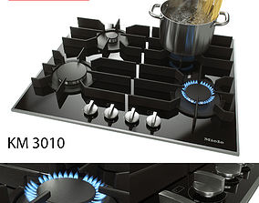 Gas burner panel with 4 burners - Miele - KM 3010 3D model