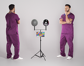 3D asset VR / AR ready Pensive young medical doctor 305