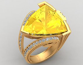 3D print model Trillion Curved Citrine Diamond Gold Ring