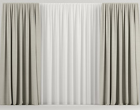 3D Wide beige curtains