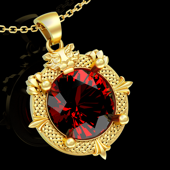 Diamond Guard Lion pendant jewelry gold necklace medallion 3D print model