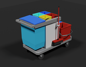 3D model Lowpoly Cleaning Cart
