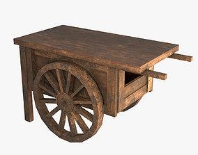 3D asset realtime Street Vendor Cart Wooden