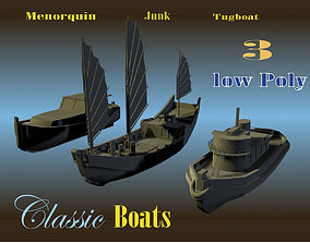 3 Low Poly Classic Boats 3D model
