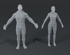 game-ready Muscular Human Body Base Mesh 3D Model Pack 1