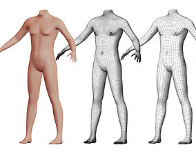 3D model Character 29 High and Low-poly - Body male
