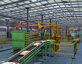 Factory Interior Scene and Equipment interior 3D