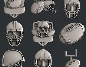 3d STL models for CNC set american football
