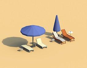 Low Poly Sunbeds and Umbrellas 3D asset