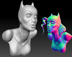 Catwoman bust 3d printable 2 models pack