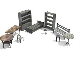 3D asset Old furniture set