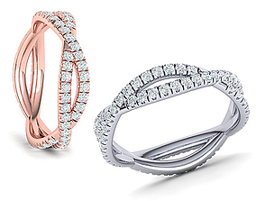 Gorgeous Rope style twisted Wedding band 3d