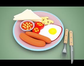 Stylized Sausage and Egg 3D model