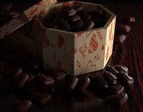 3D model Box of chocolate hearts