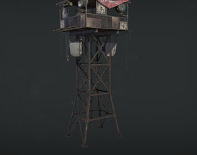 3D model Watch tower Game Ready Low poly