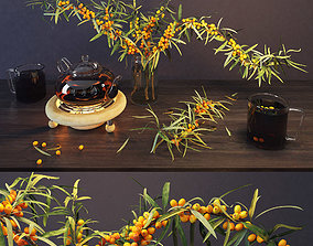 3D sea buckthorn and teapot