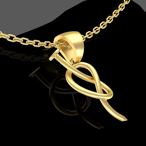 Large Nail Pendant jewelry Gold 3D print model