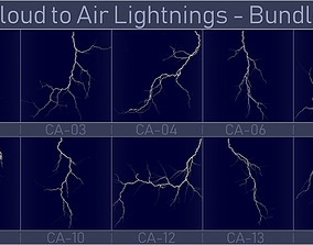 Realistic Lightnings Bundle 06 - 10 pack CA 3D