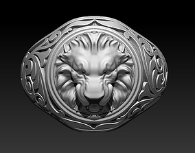 3D printable model King Lion Ring Carving Man