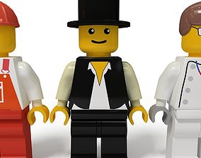 Lego man collection 10 characters 3D model