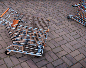 3D model Low Poly PBR Shopping Trolley