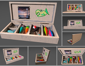 3D model realtime Low-poly handpainted fishermans box
