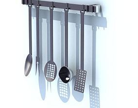 Kitchen Utensil Rack With Tools 3D