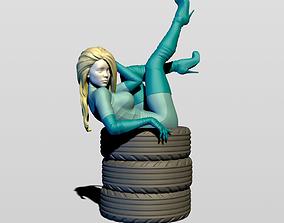 Grid girl in resting 3D print model railing