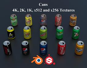 3D asset Soda Cans Open PBR