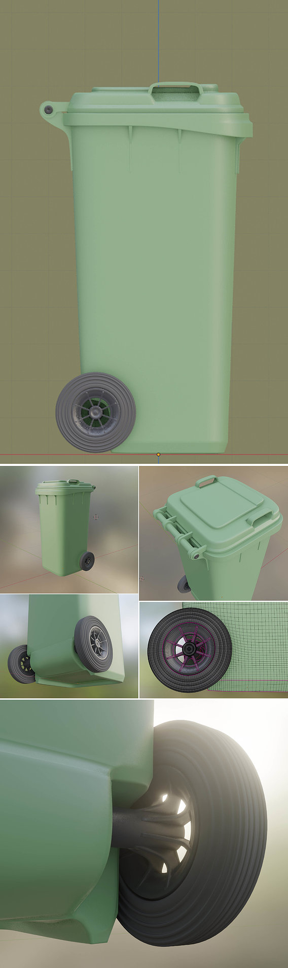 Wheeled-Garbage-Can 120L High-Poly
