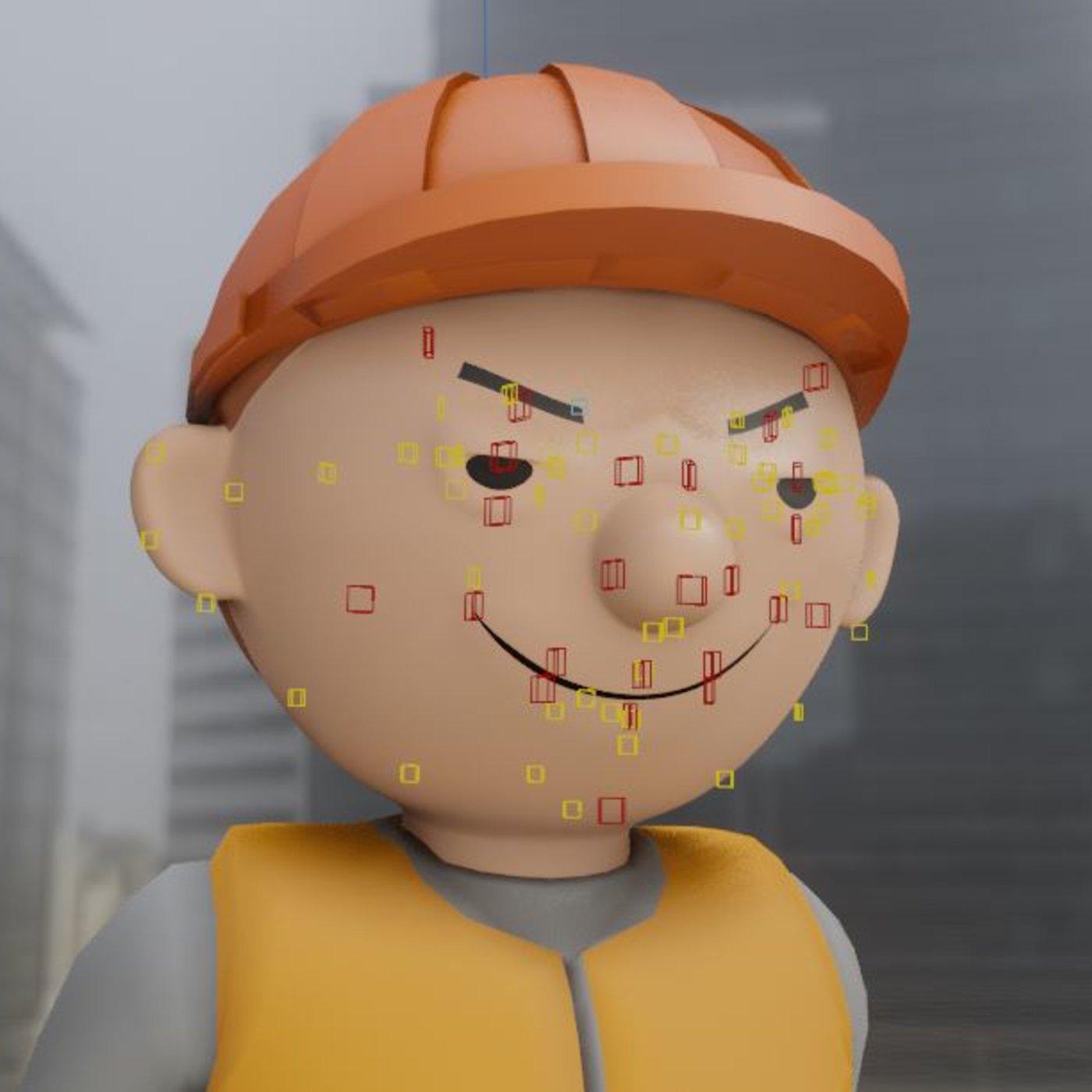 Cartoon Construction Worker Face Rig Tests (Rigify) Blender-2.90.1