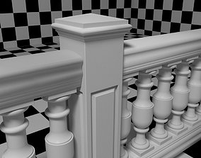 3D Exterior Railing - White Vinyl - Style 14