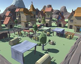 3D asset VR / AR ready Low Poly Medieval Pack