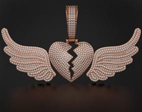 3D printable model Broken Heart with Wings Pendant