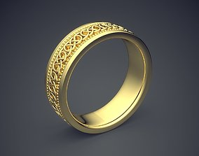 Classic Golden Engagement Ring With 3D print model 1